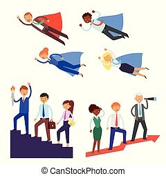 Team leader vector businessman or businesswoman character super hero leading corporate teamwork illustration set of business people in leadership success working isolated on white background