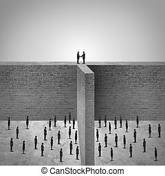 Team leadership success or border agreement concept as the leaders of two divided groups of employees or citizens overcoming high walls to find a solution to meet and agree to shake hands in a mutual friendly cooperation.