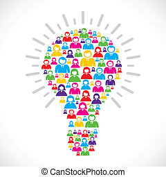 colorful people make bulb stock vector