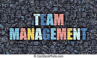 Team Management in Multicolor. Doodle Design.