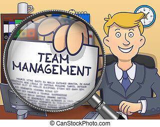 Team Management through Magnifier. Doodle Design.
