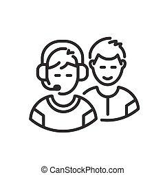 Team - modern vector line design icon.