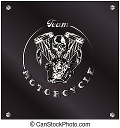 Team Motorcycle Skull Circle Frame Background Vector Image