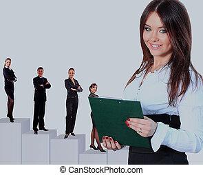 team., negócio mulher, dela