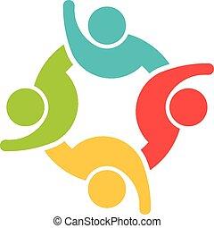 Team of 4 happy people logo