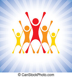 team of achievers celebrating victory in a competition-...