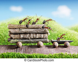 team of ants carry wooden logs with trail car, teamwork, ...