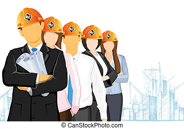illustration of team of architect wearing hardhat on under construction site