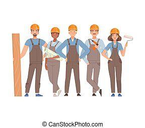 Team of builders in gray overalls and blue t-shirts with a board, a roller and a drawing. Vector illustration.