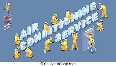 Team of Builders, people and words Air Conditioning Services. Vector.