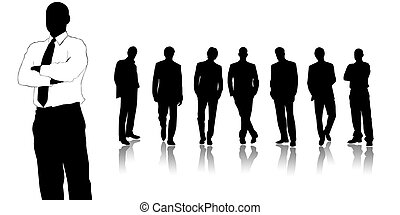 Team of business people on a white background