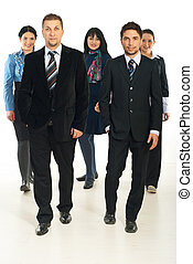 Team of business people walking