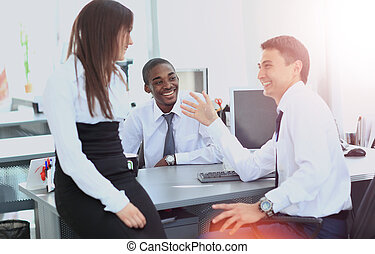 team of business people working in office