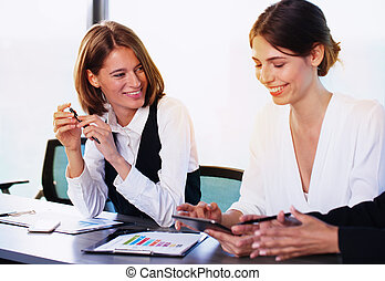 Team of business person works together