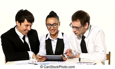 team of businessmen are funny talks on white background, Girl with a tablet in hands