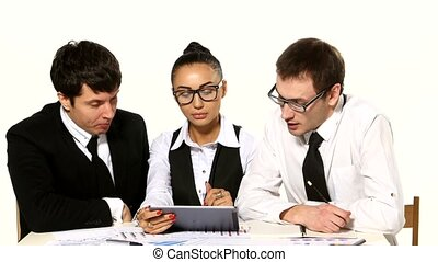 team of businessmen funny talks. white background. Girl with a tablet in hands