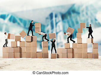 Team of businesspeople build a new company