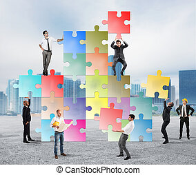 Team of businesspeople build a new company - Concept of...