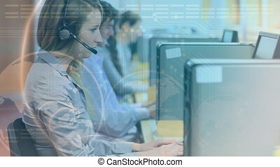 Team of call centre agents in their workstations