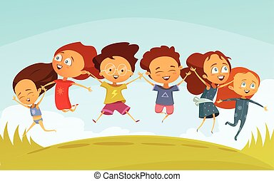 Team Of Cheerful Friends Holding Hands And Jumping