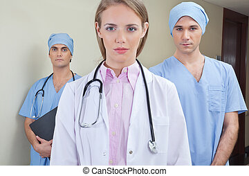Team of confident young doctor