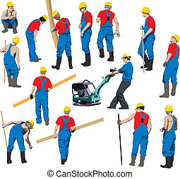 Team of Construction workers in blue workwear an yellow helmets. Vector illustration. Other vector people in my portfolio.