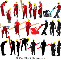 Team of Construction workers in red workwear an yellow helmets. Vector illustration and silhouettes. Other vector people in my portfolio.