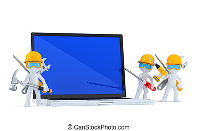Team of construction workers with blank screnn laptop. Isolated. Contains clipping path