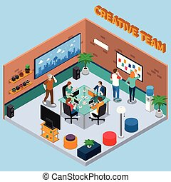 Team Of Creatives Isometric Illustration