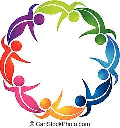 Team of dancing leaf figure people vector logo
