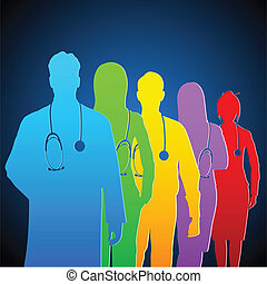 illustration of team of colorful doctor with stethoscope