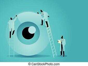 Team of doctors diagnose human eye