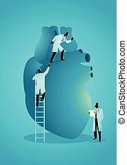 Team of doctors diagnose human heart. Cardiologist Concept
