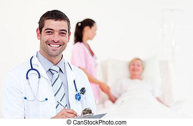 Doctors Looking after a senior Patient - Team of Doctors...