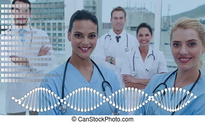 Team of doctors surrounded by an animation of DNA helix and grid pattern