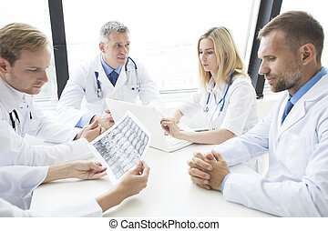 Team of doctors working in the office