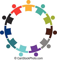 Team of Eleven People in a Round. Logo Design