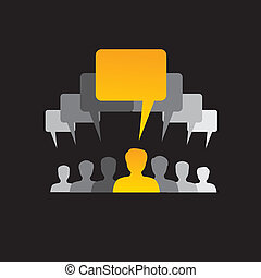 team of employees communicate, discuss & interact - concept ...