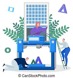 Team of engineers print on a 3d printer vector illustration.