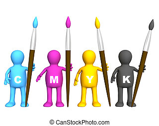 Team of four puppets with brushes - palette CMYK
