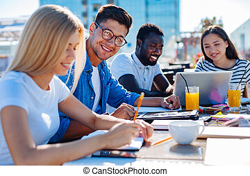 Team of freelancers sharing strategic ideas