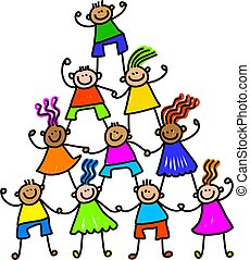 Team of Happy Kids - Whimsical cartoon illustration of a ...