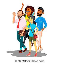 Team Of International Company Vector. Isolated Illustration