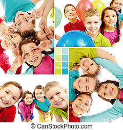 Team of kids - Collage of team of happy kids in joyful mood