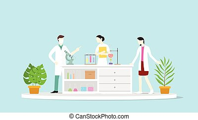 team of laboratory learn science discuss chemistry - vector illustration