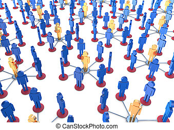 Team of men networking 3D