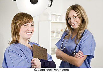 nurse and doctor in a white hospital room