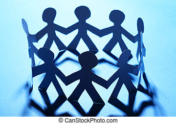 Team of paper people