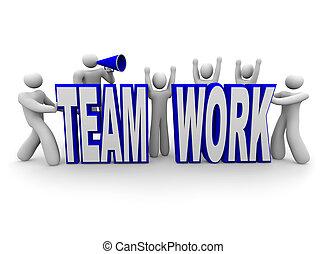 Team of People Build Word Teamwork - A team of people work...