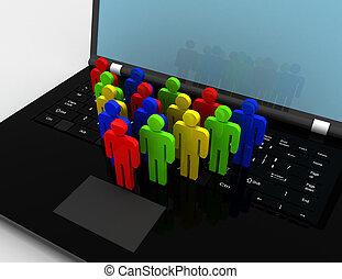 team of people figures on laptop, 3d rendered illustration